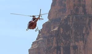 Photo of a flying helicopter in Grand Canyon