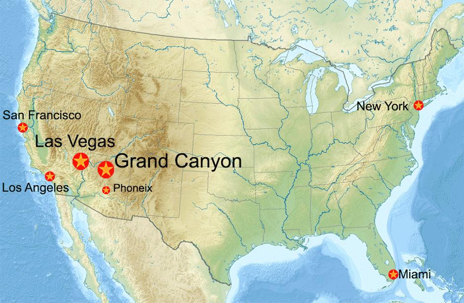Mappa Usa Con Grand Canyon